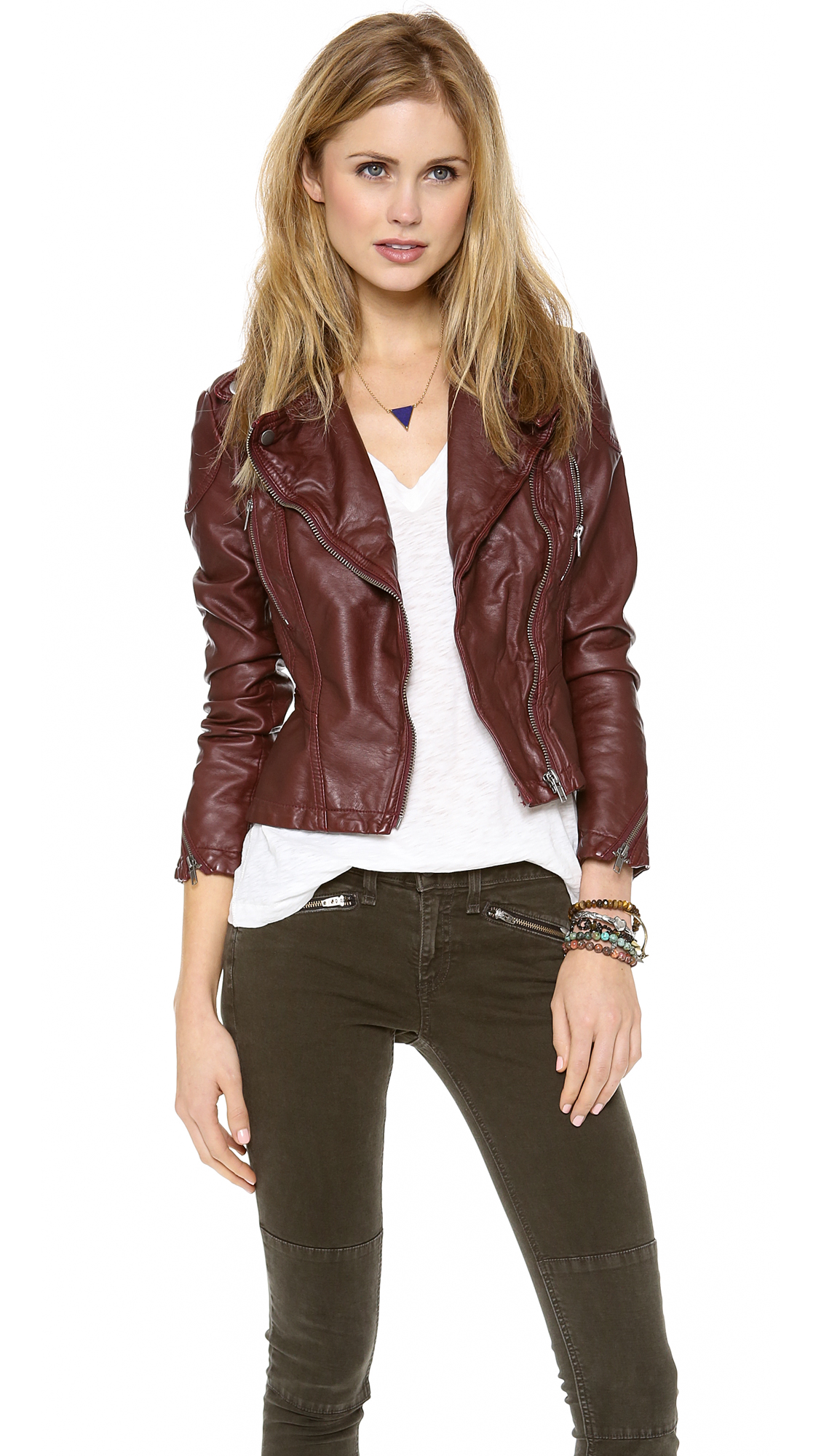 Free people Vegan Leather Peplum Jacket in Brown | Lyst