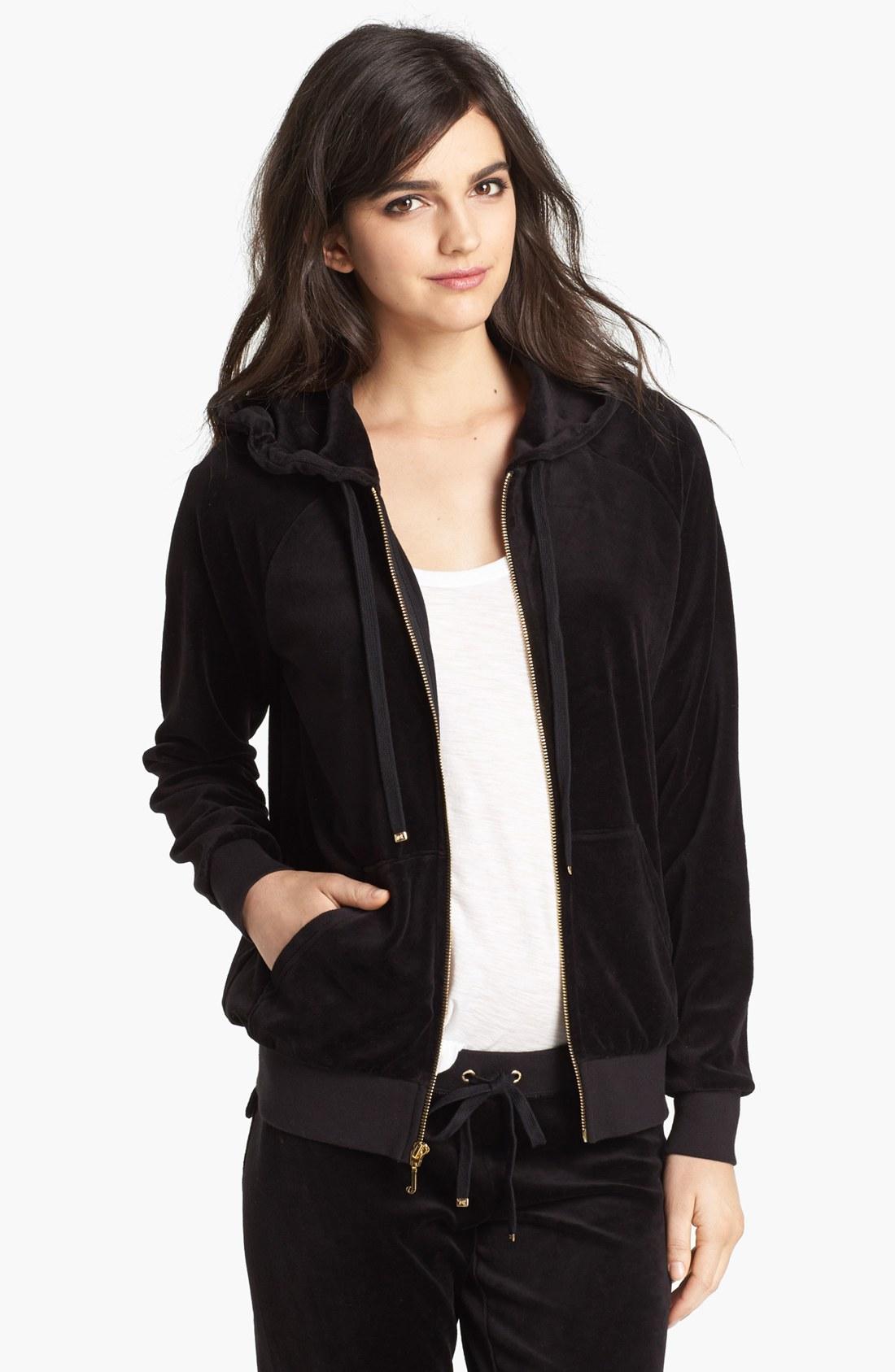 Juicy Couture Velour Zip Hoodie in Black   Lyst