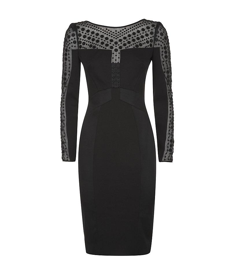 Karen Millen Polka Dot Embroidery Dress In Black Lyst
