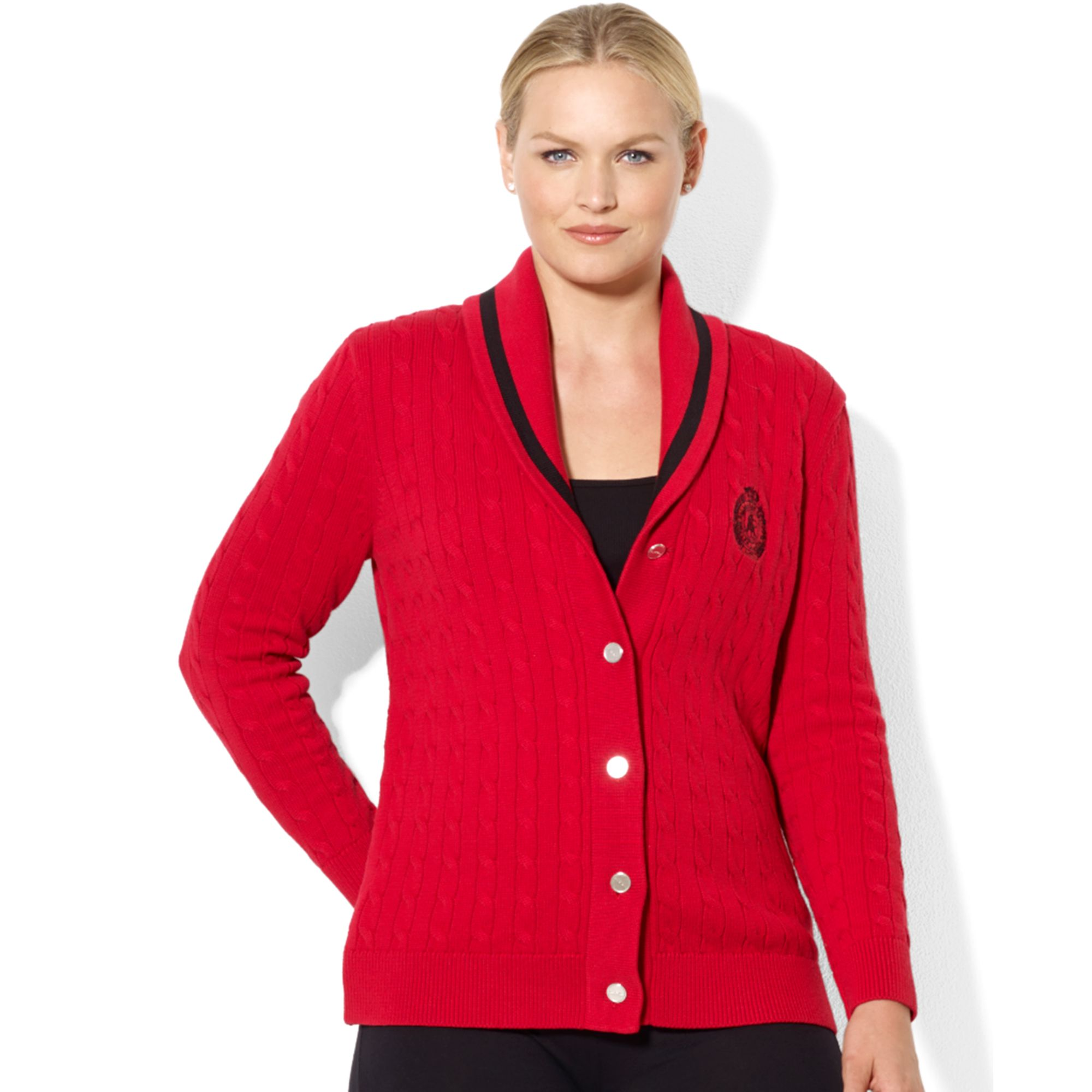 lauren by ralph lauren longsleeve shawlcollar cableknit cardigan in red lyst. Black Bedroom Furniture Sets. Home Design Ideas
