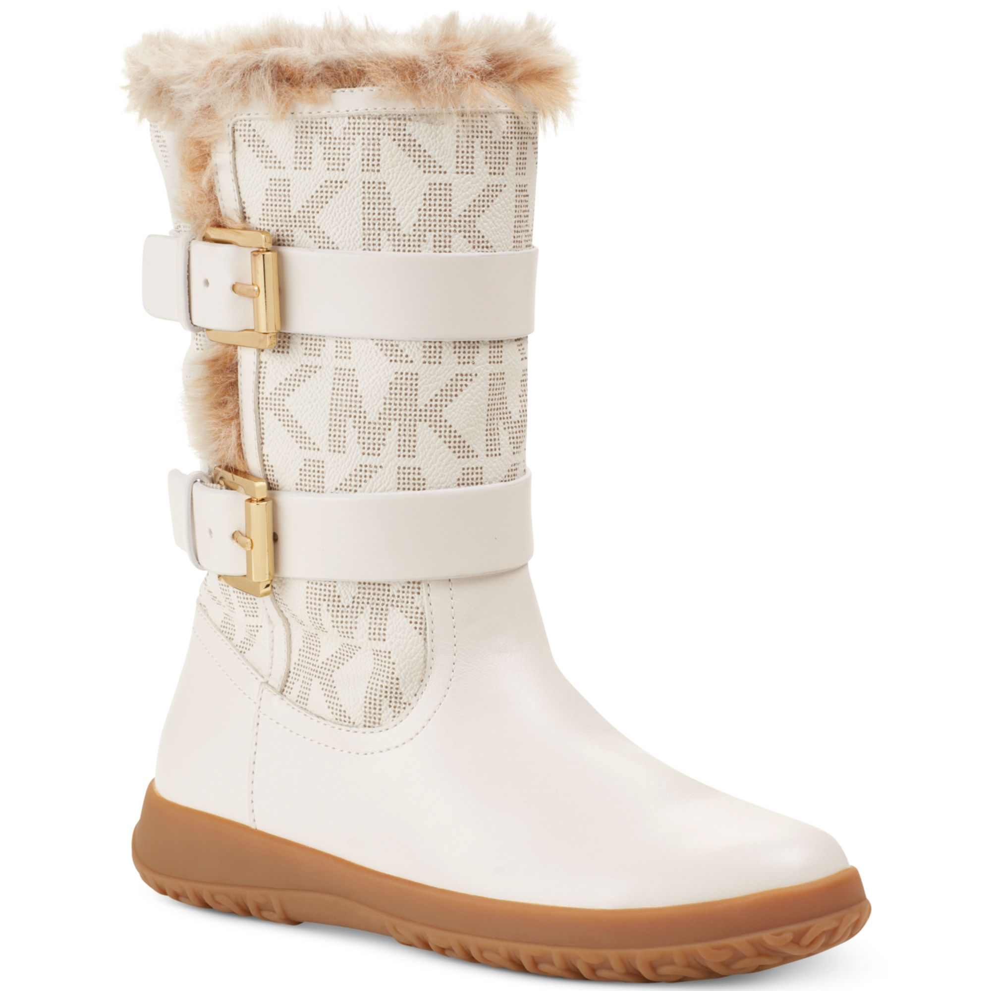 michael kors aaran cold weather faux fur boots in white vanilla logo lyst. Black Bedroom Furniture Sets. Home Design Ideas