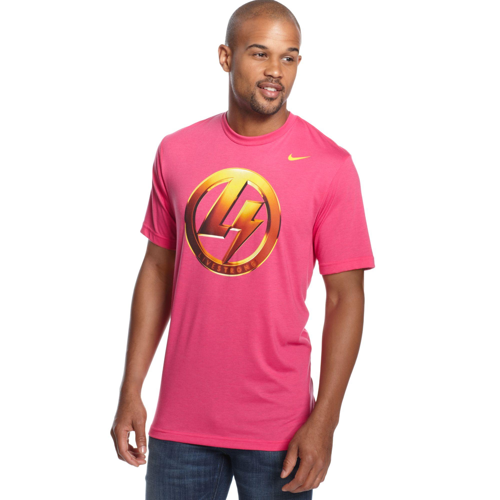 Mens Pink Nike Dri Fit Shirt
