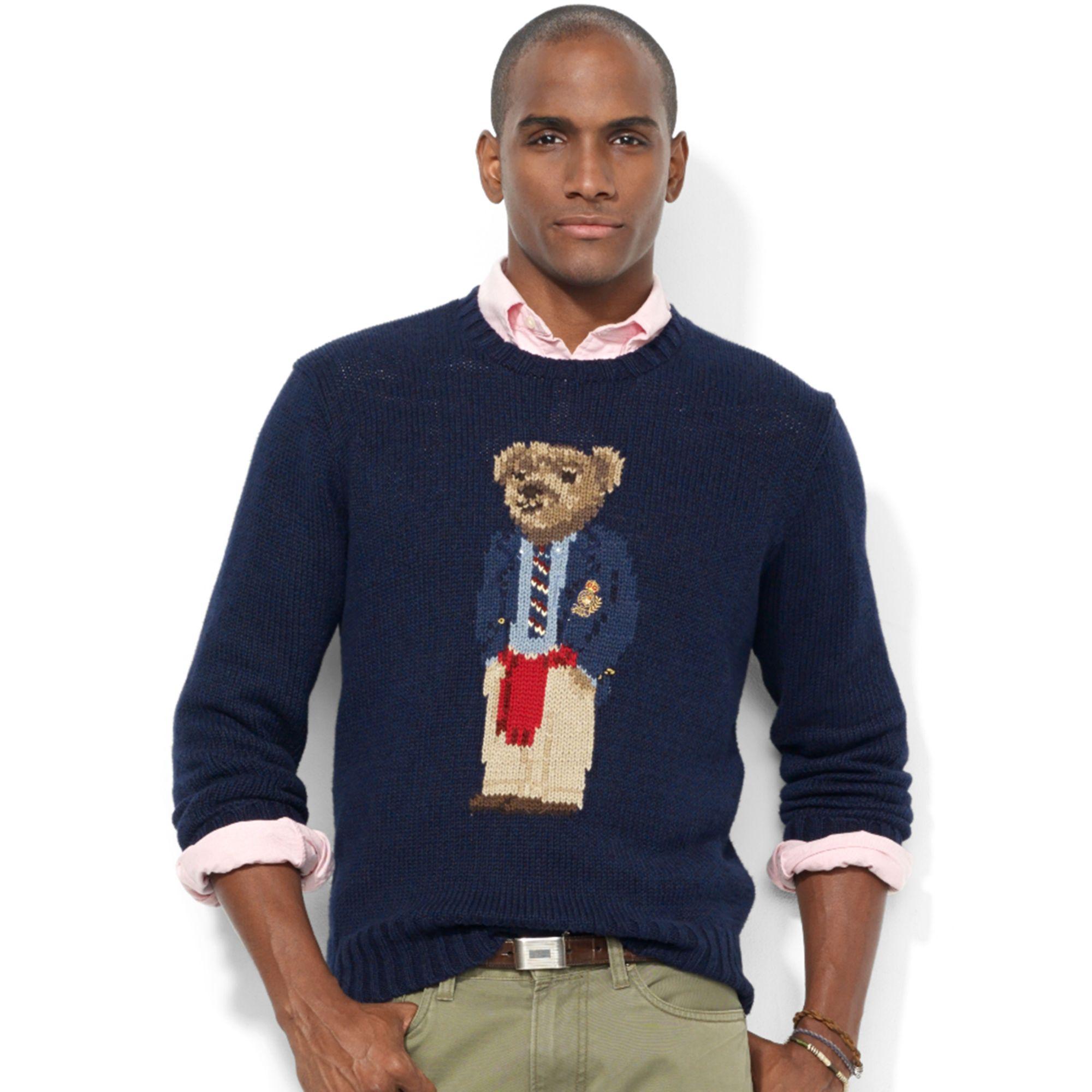 aa2b645cda62f Lyst - Ralph Lauren Crew Neck Intarsiaknit Polo Bear Sweater in Blue ...