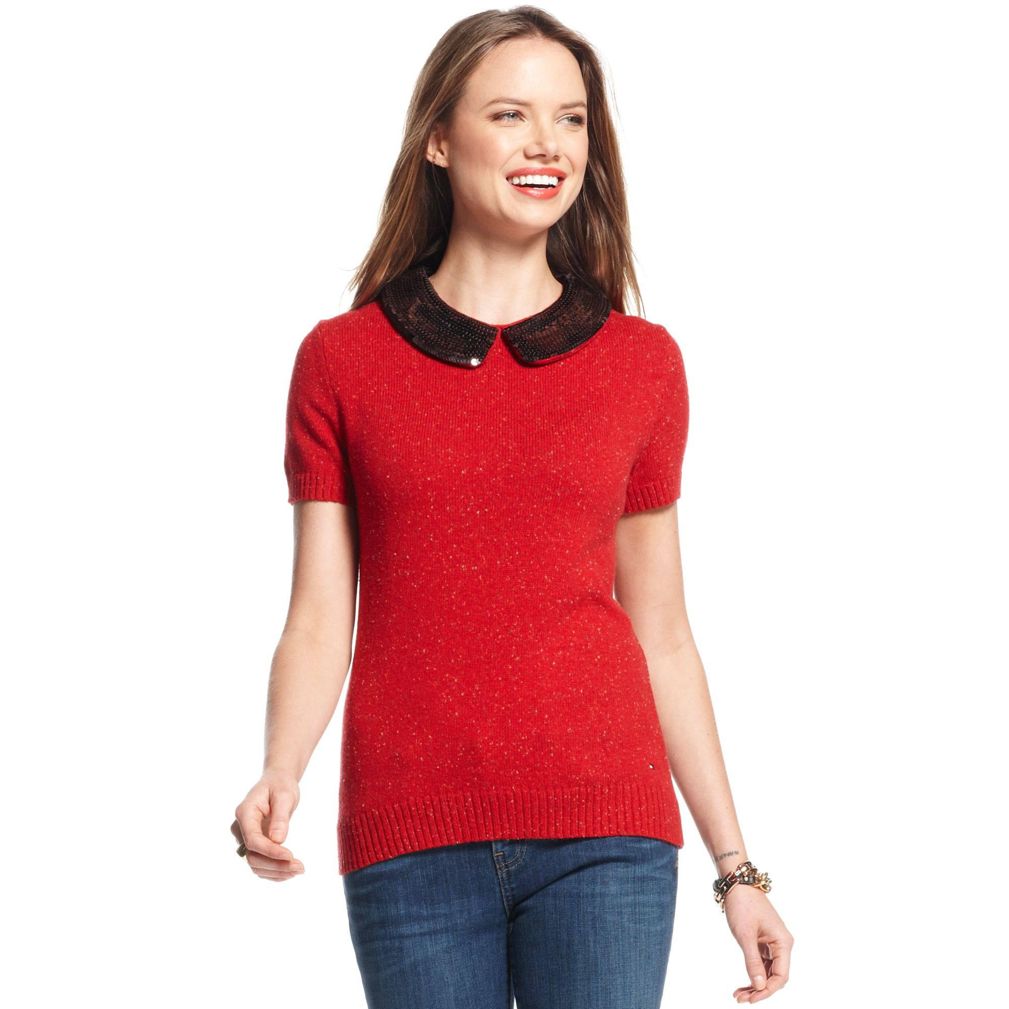 Tommy hilfiger Short Sleeve Beaded Sweater in Red | Lyst