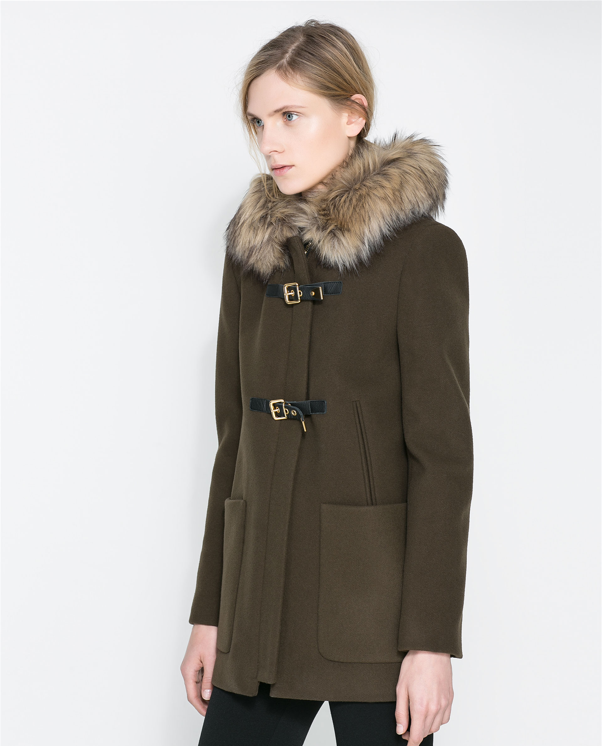 Zara Duffle Coat with Fur Trimmed Hood in Natural | Lyst