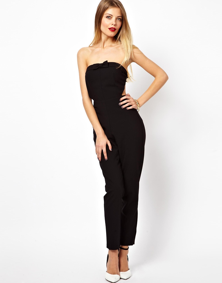 Asos Bandeau Jumpsuit With Bow in Black | Lyst