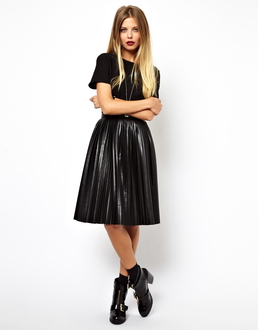 Asos Skater Dress with Leather Look Pleated Skirt in Black | Lyst