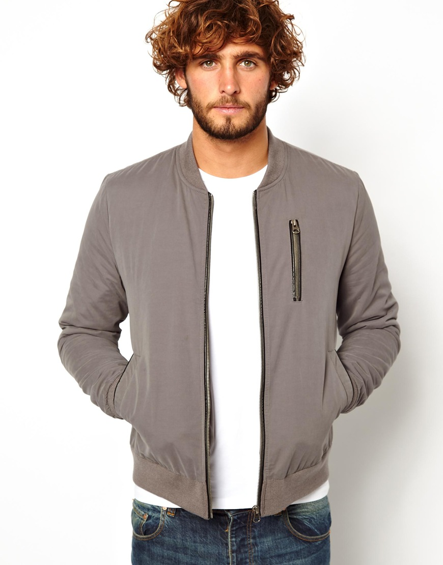 Asos Bomber Jacket in Gray for Men | Lyst