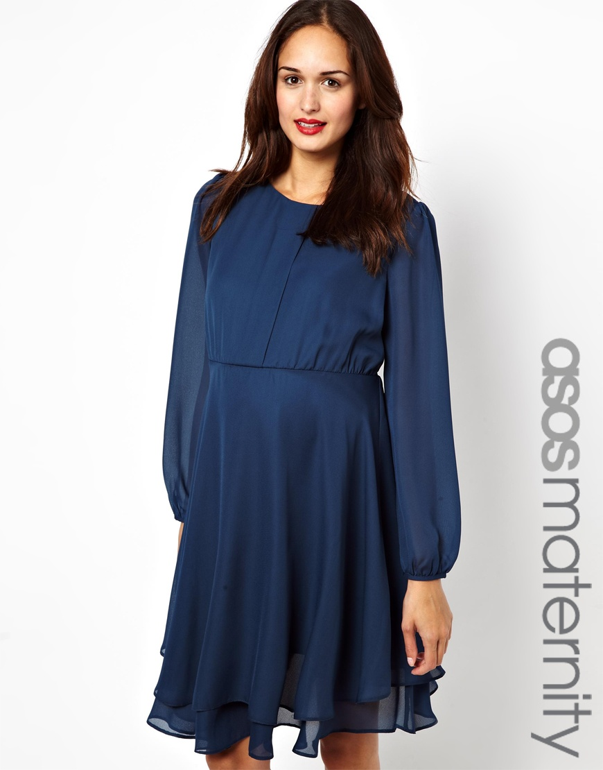 Asos Exclusive Double Layer Dress With Long Sleeve in Blue   Lyst