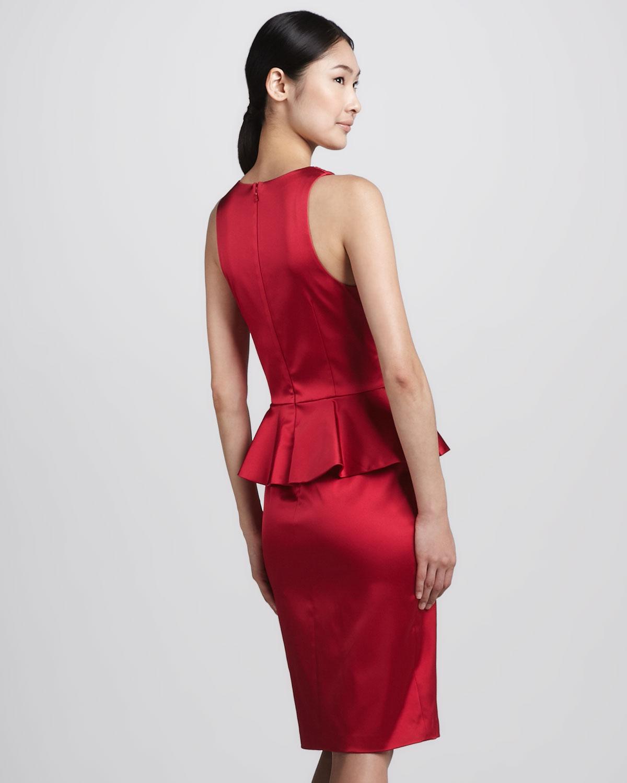 Lyst David Meister Satin Peplum Cocktail Dress In Red
