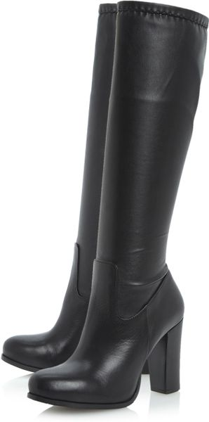 dune shaina stretch knee high boots in black black