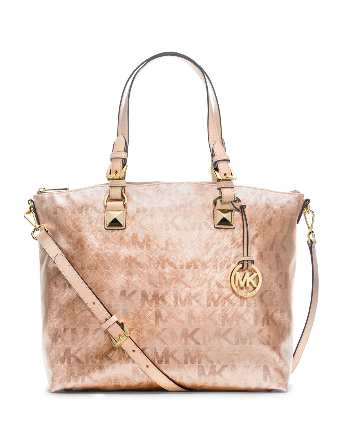 Lyst Michael Kors Jet Set Metallic Multifunction Satchel In Natural