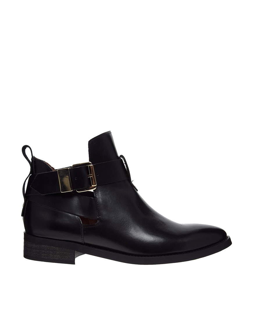 miista ona black leather cut out ankle boots in black lyst