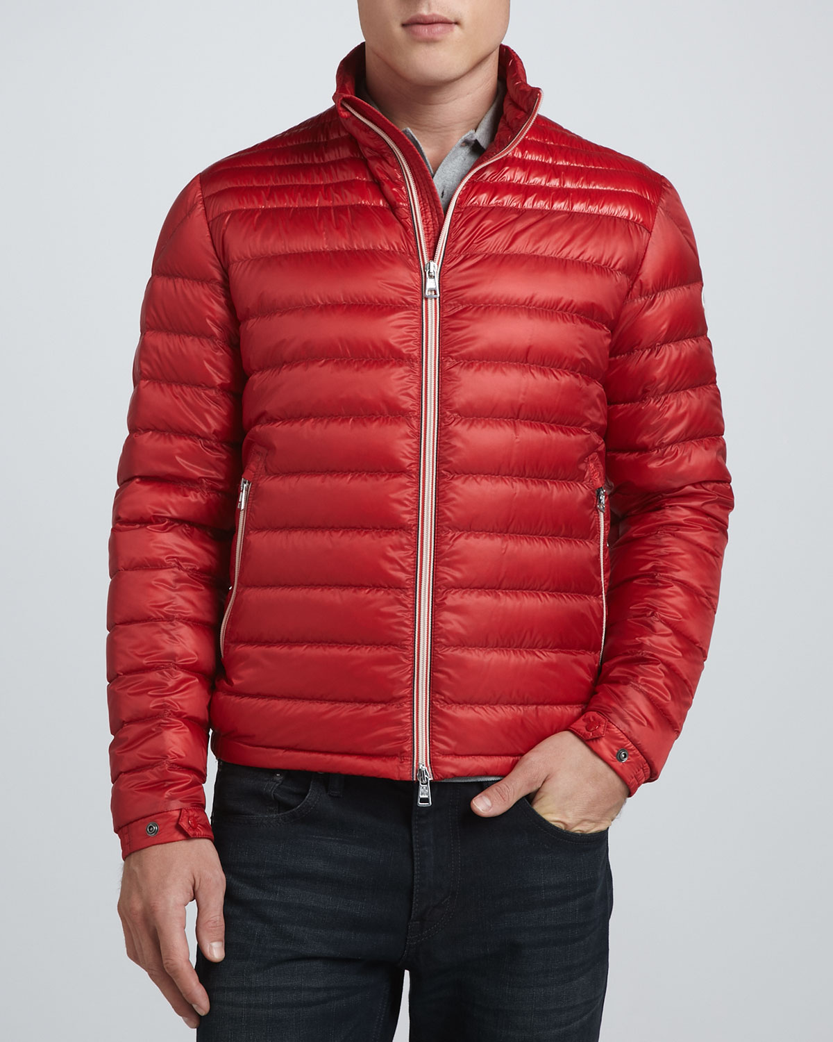 Moncler Acorus Lightweight Puffer Jacket in Red for Men | Lyst