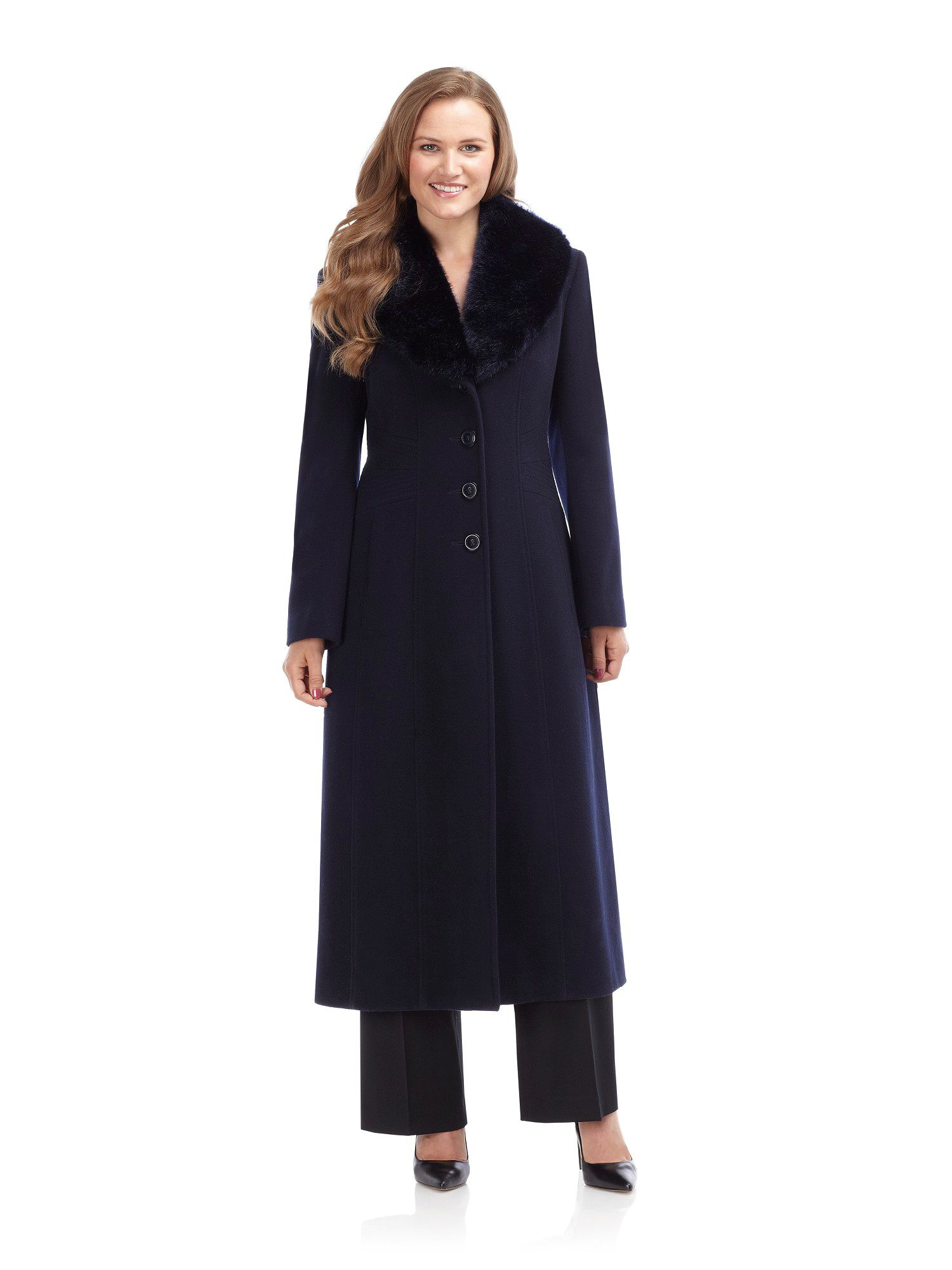 Precis petite Long Navy Wool Coat in Blue | Lyst