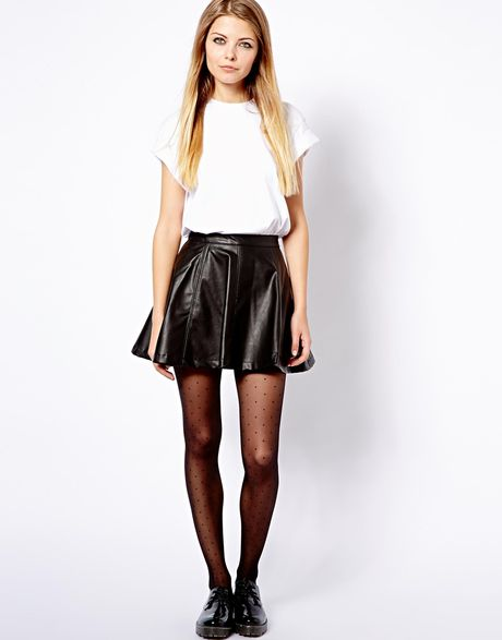 pull pullbear leather look skater skirt in black lyst
