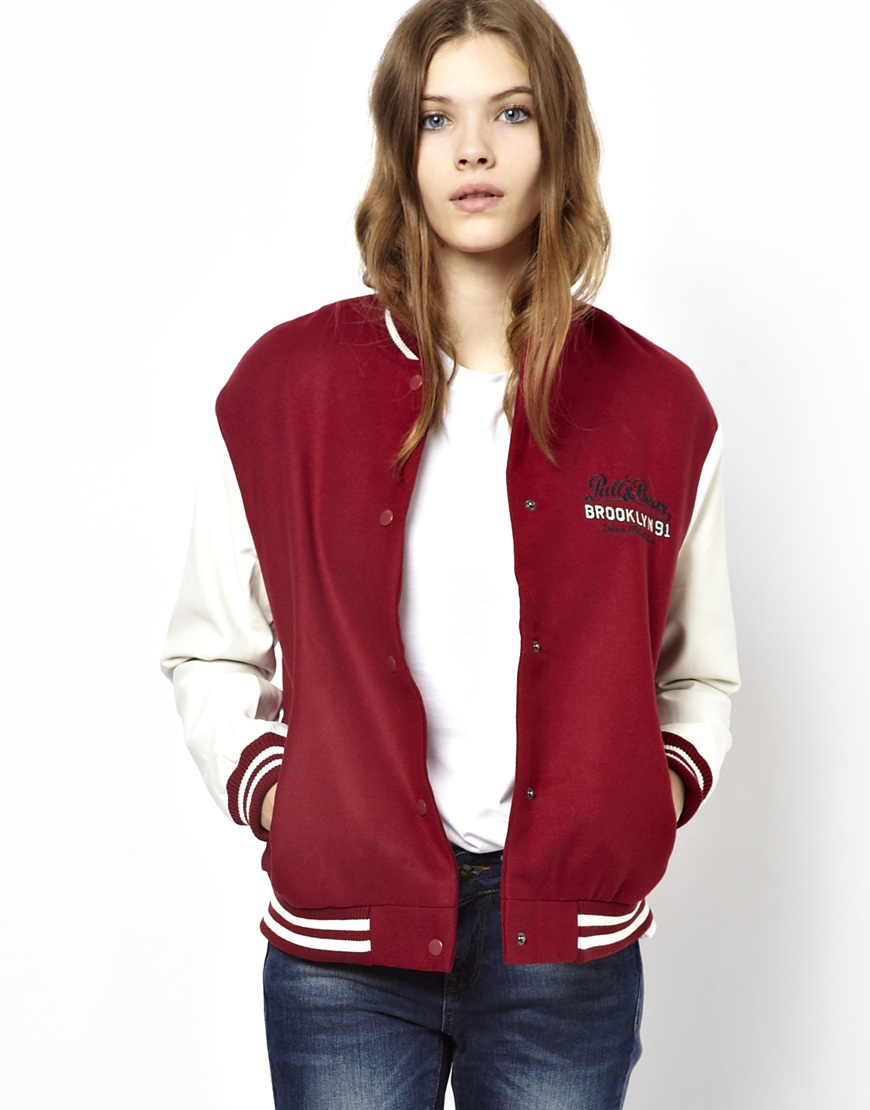 Pull Bear Pullbear Baseball Jacket With Leather Look