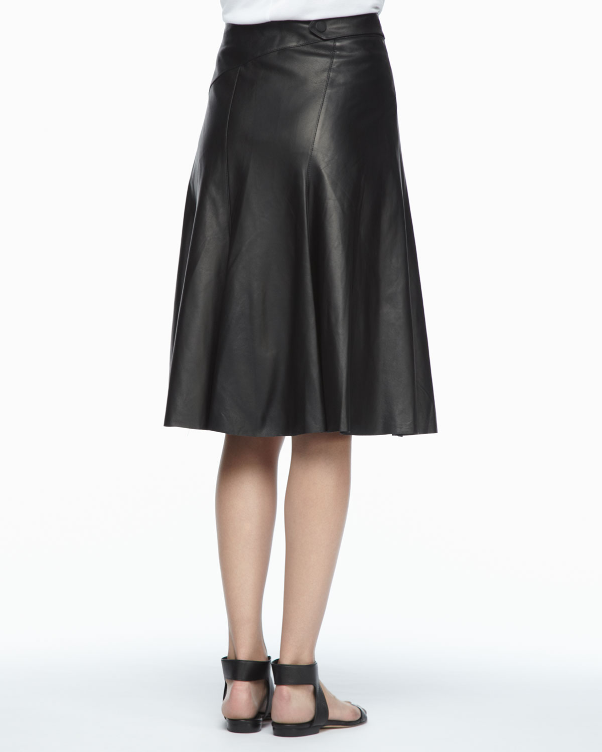 robert rodriguez aline leather skirt in black lyst
