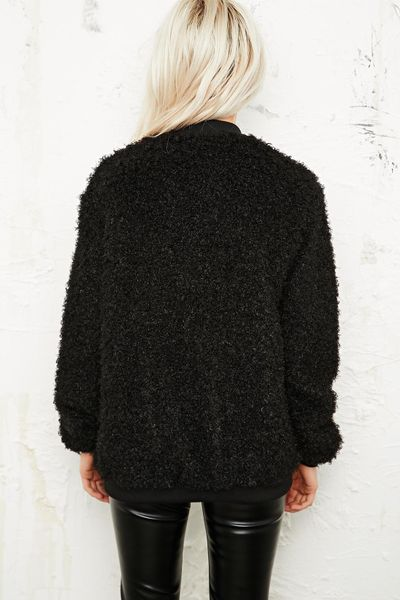 Urban Outfitters Conspicuous Fuzzy Bomber Jacket in Black in Black | Lyst