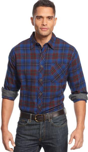 Weatherproof longsleeve tartan plaid flannel shirt in red for Weatherproof vintage men s lightweight flannel shirt