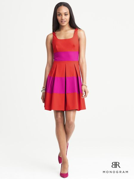 banana republic br monogram rugbystripe dress in red  pink combo