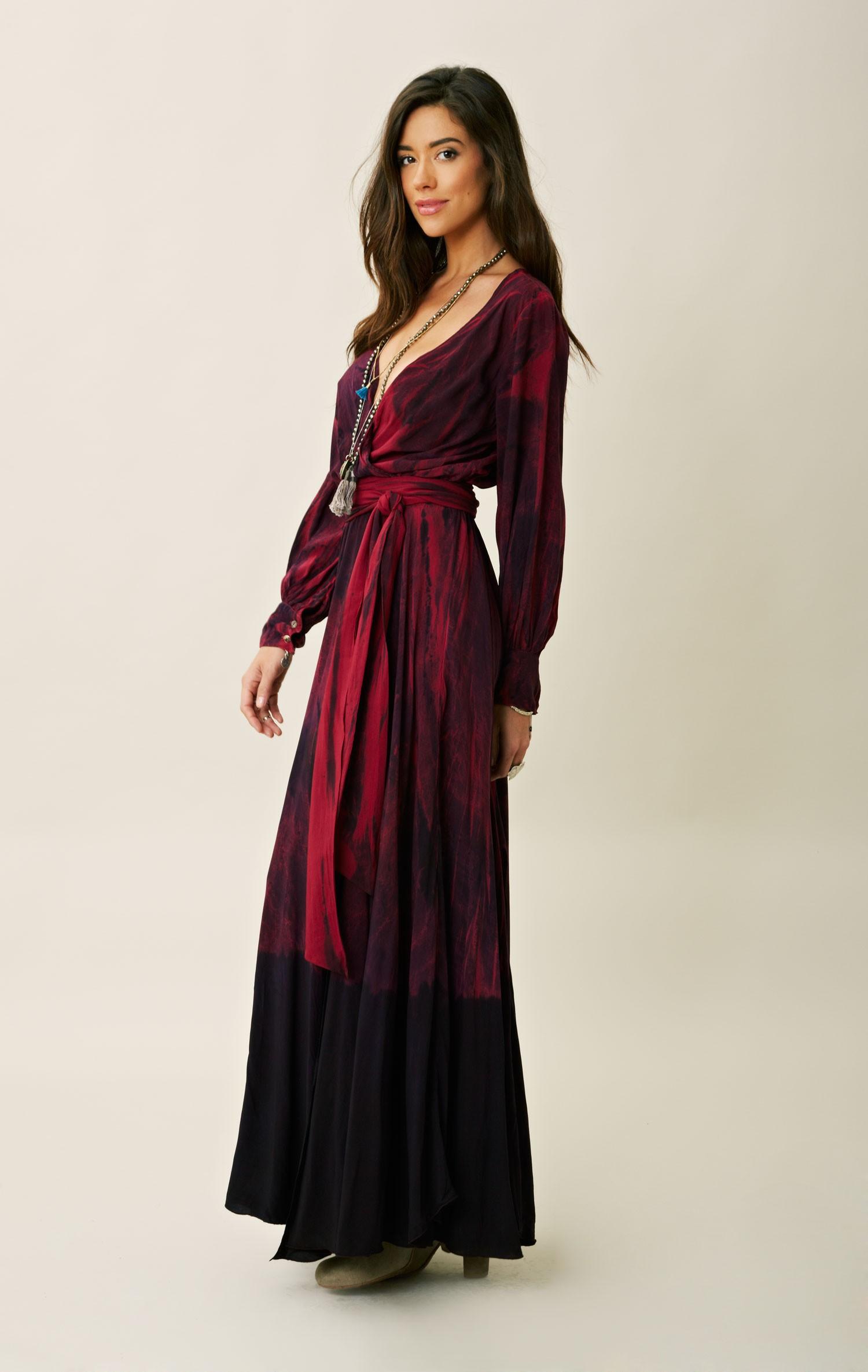 Blu moon 70s Style Tie Dye Dress in Red (ATSK) | Lyst