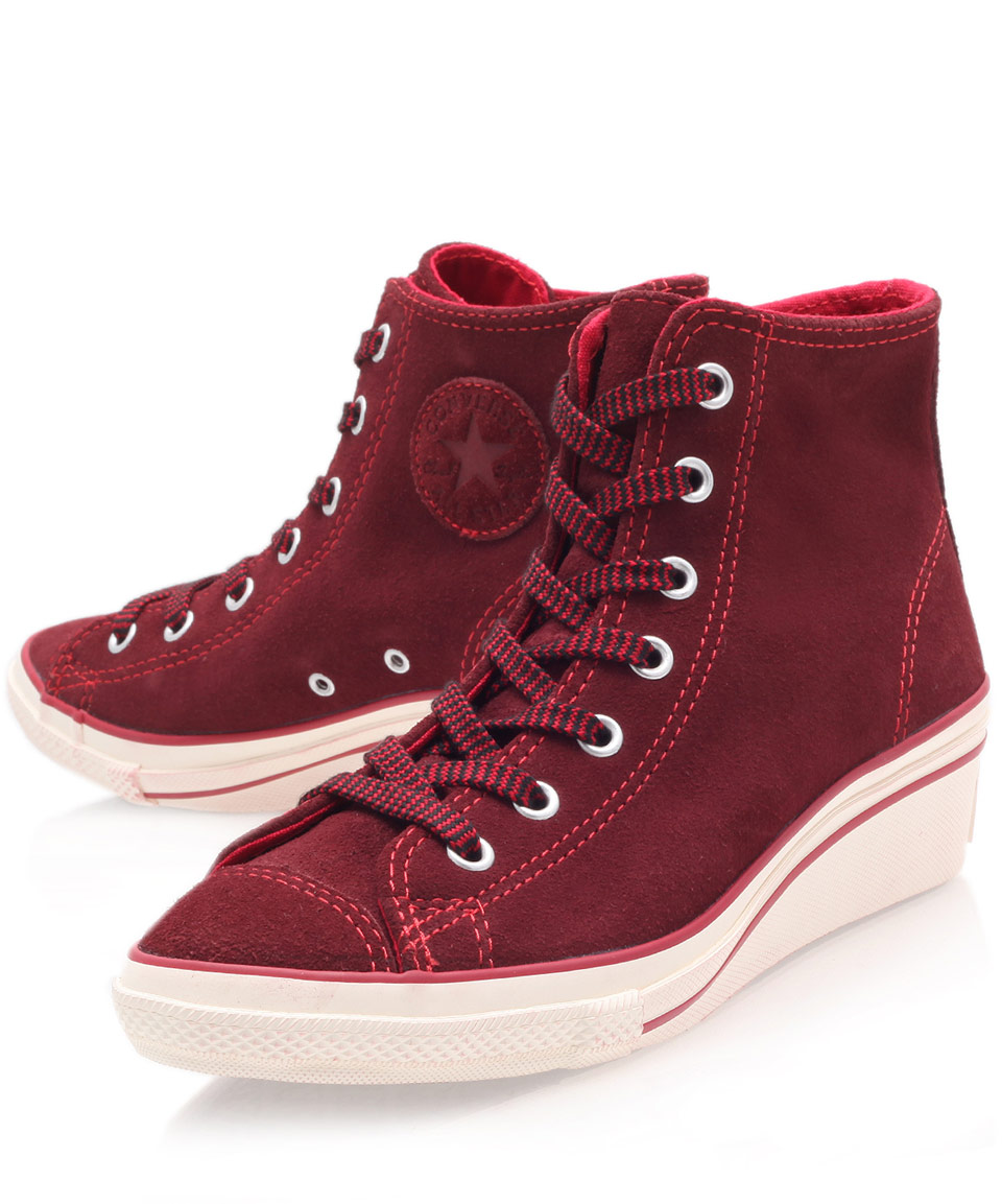 Converse Red Chuck Taylor Suede Hi Top Wedge Trainers in Red - Lyst 1fb1cce4f