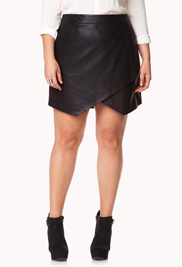 Forever 21 Sleek Asymmetrical Faux Leather Skirt in Black | Lyst