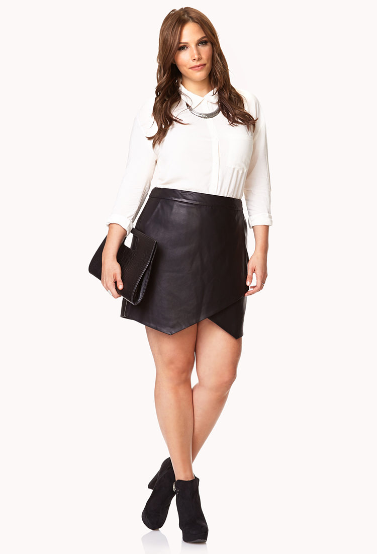 Forever 21 Sleek Asymmetrical Faux Leather Skirt in Black | Lyst
