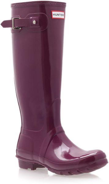 Hunter Purple Original Gloss Tall Wellington Boots In