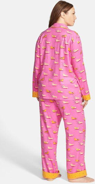 Munki Munki Print Flannel Pajamas In Pink Pink Weiner Dog