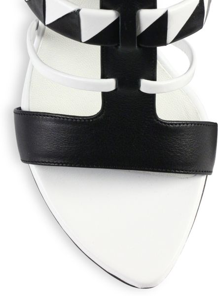 Proenza Schouler Black White Leather Sandals In White