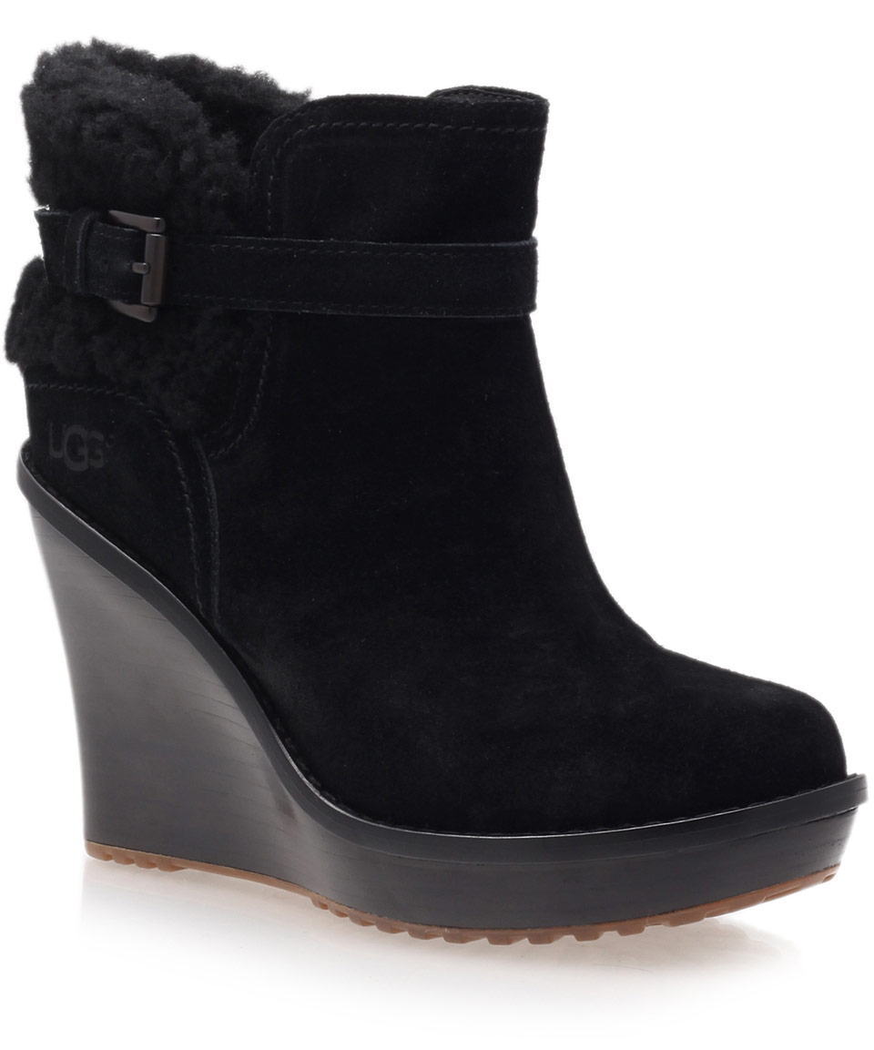 ugg black anais wedge boots in black lyst