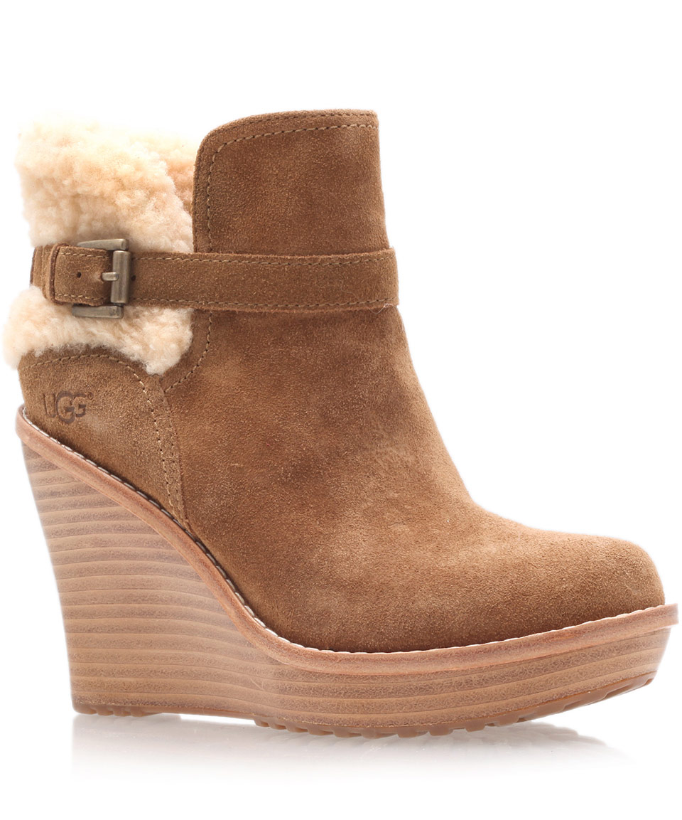 ugg chestnut anais wedge boots in brown lyst