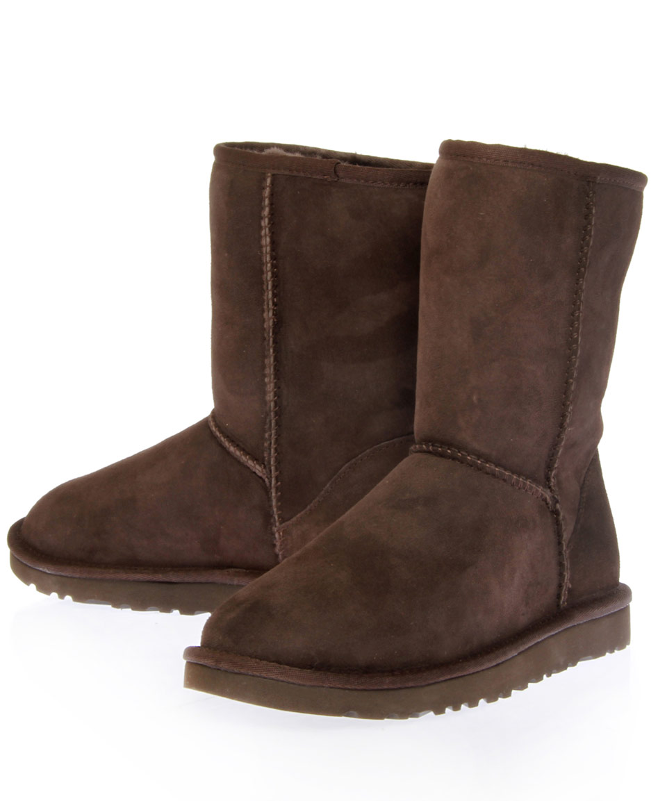 lyst ugg chocolate classic short sheepskin boots in brown. Black Bedroom Furniture Sets. Home Design Ideas