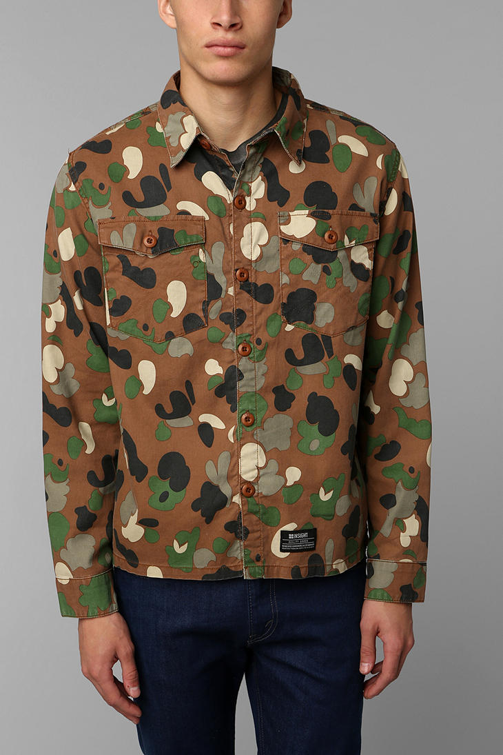 Urban Outfitters Insight Camo Button Down Shirt In