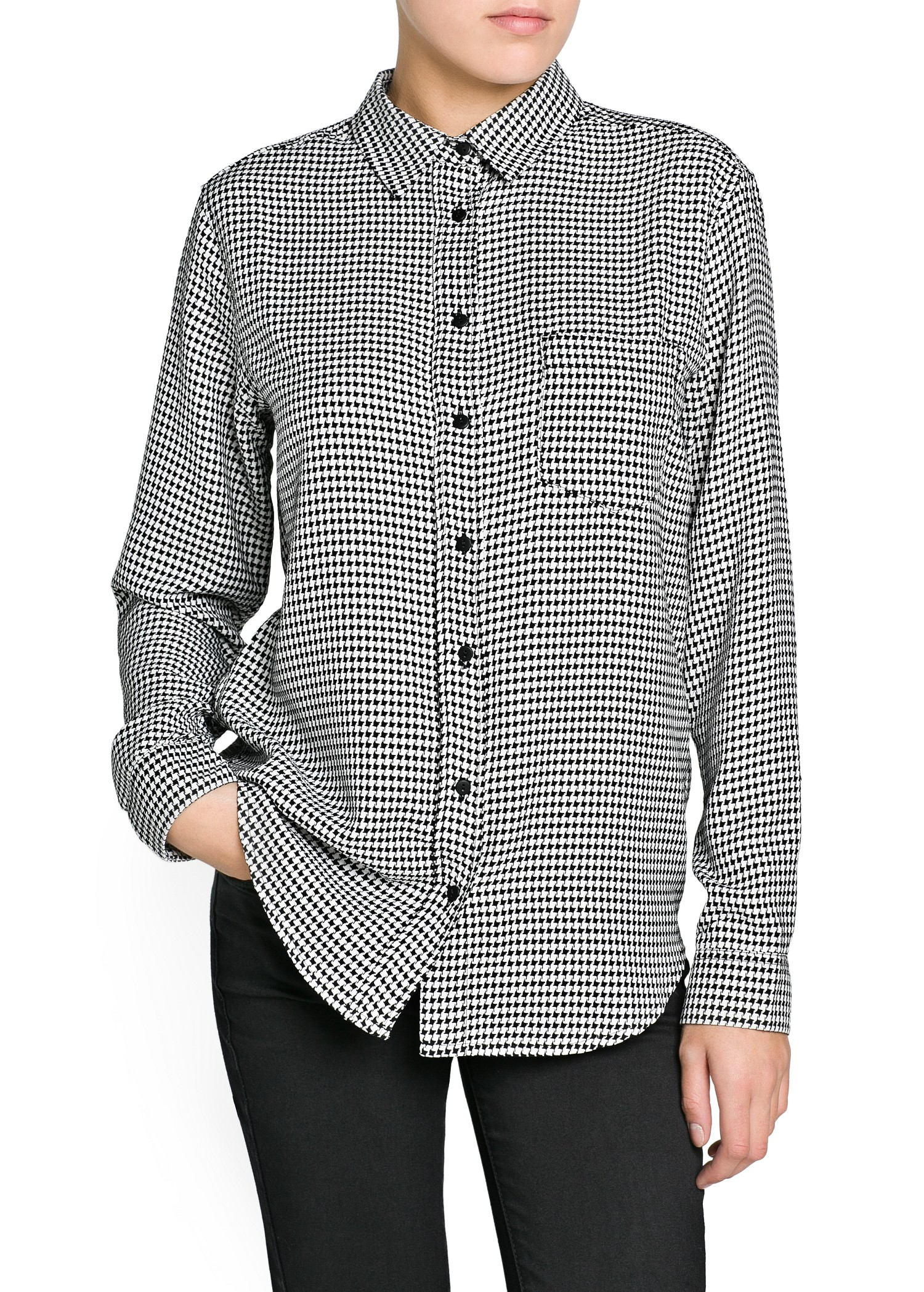 Mango Houndstooth Shirt In Black Lyst