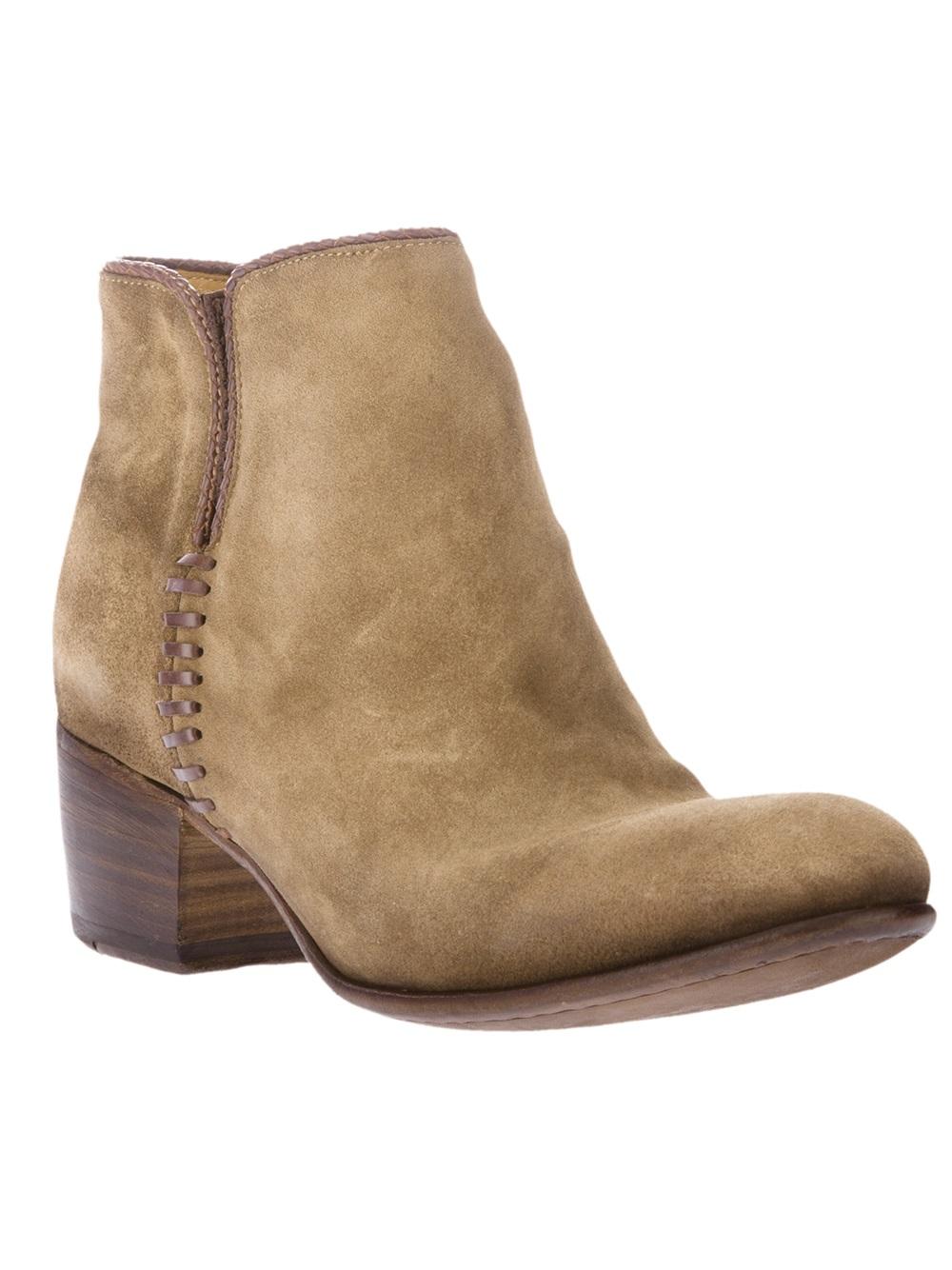 alberto fasciani mid heel ankle boot in brown lyst