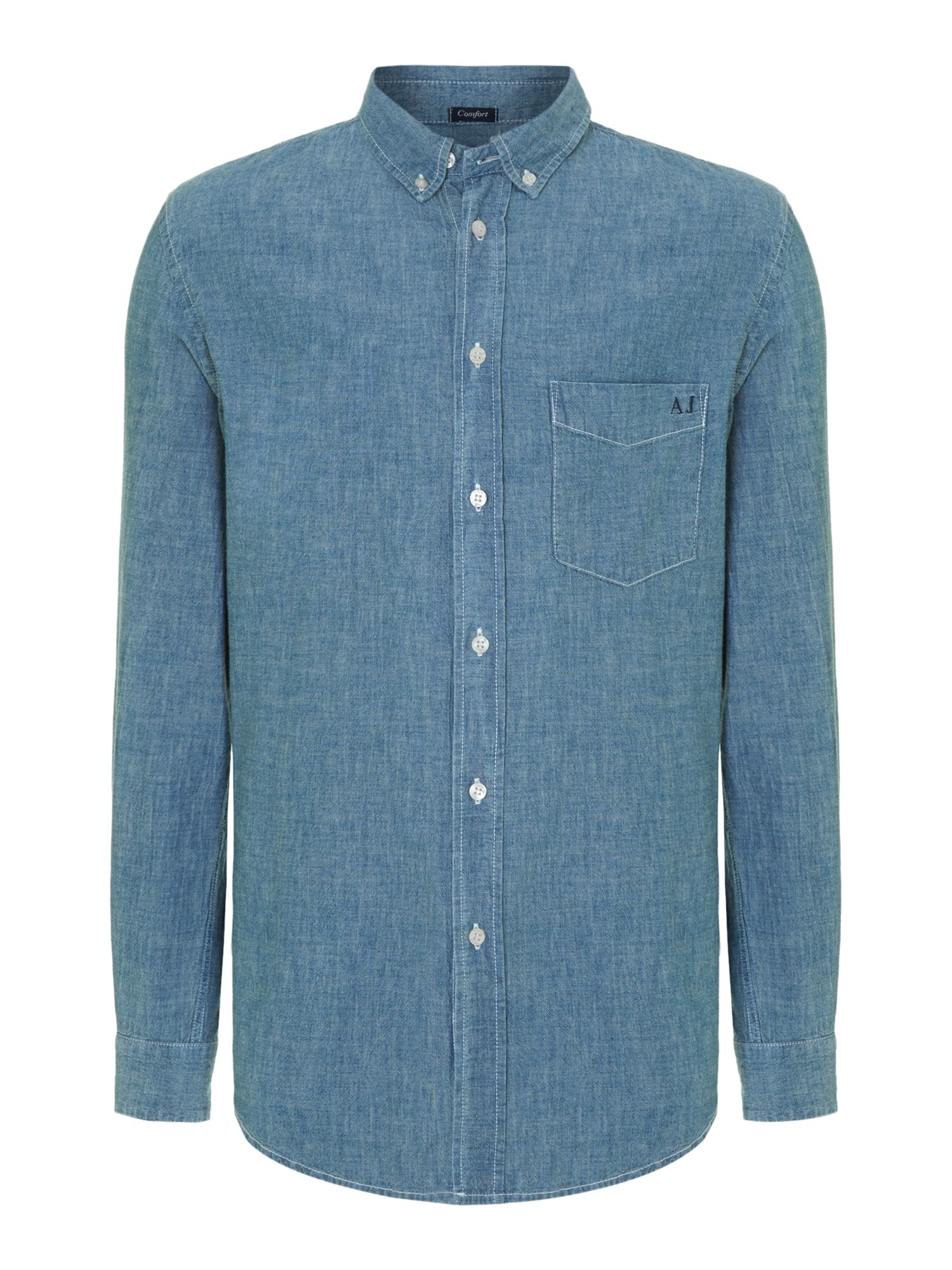 Armani jeans long sleeve chambray shirt in blue for men for Chambray jeans