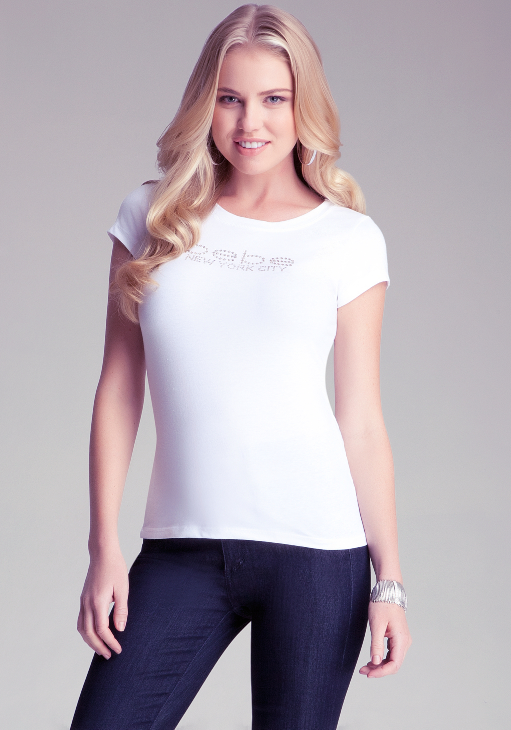 The collection of Bebe t-shirts features a variety of designs from scoop-neck t-shirts to logo-detail t-shirts in a range of bold and bright colors ideal for refreshing your casualwear line .