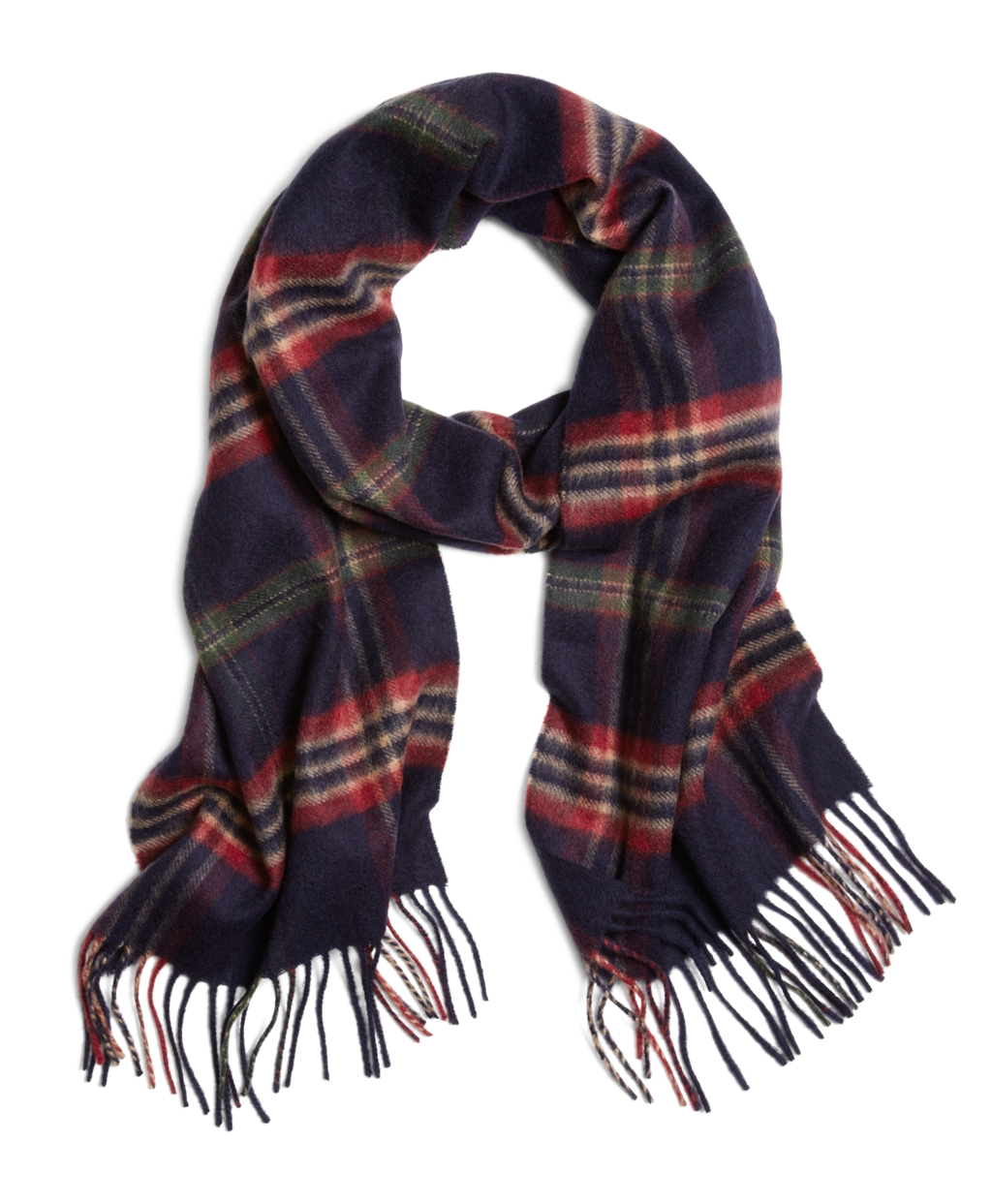 brothers signature tartan scarf in blue