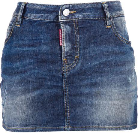 dsquared 178 denim mini skirt in blue lyst