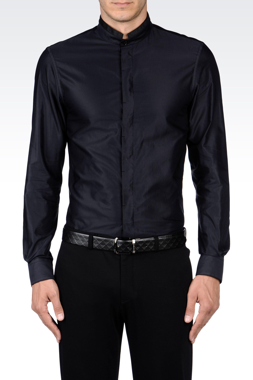 stabile Qualität speziell für Schuh neues Slim Fit Mandarin Collar Shirt in Poplin