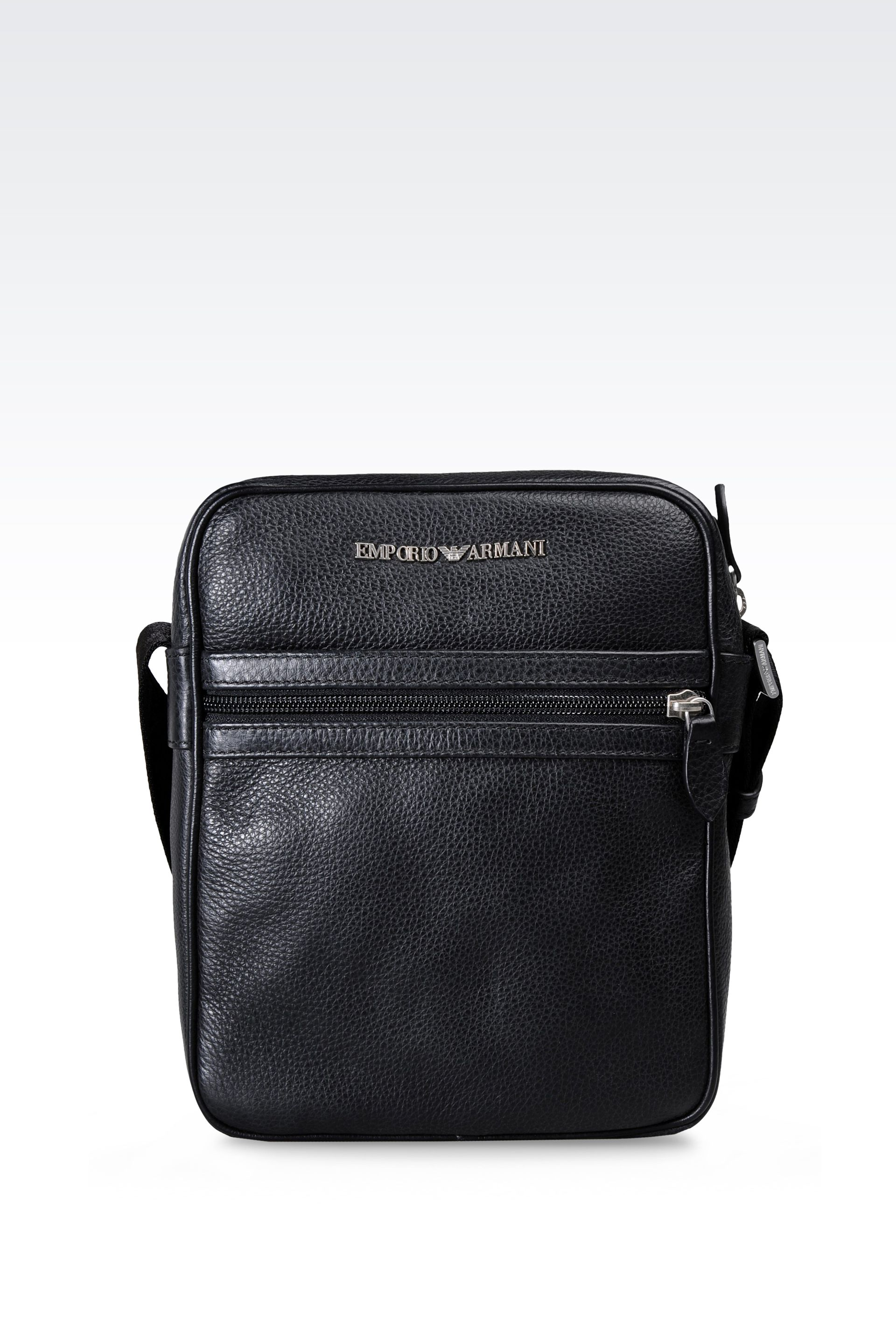 Lyst - Emporio Armani Small Leather Shoulder Bag in Black for Men 291246c8ae4a2