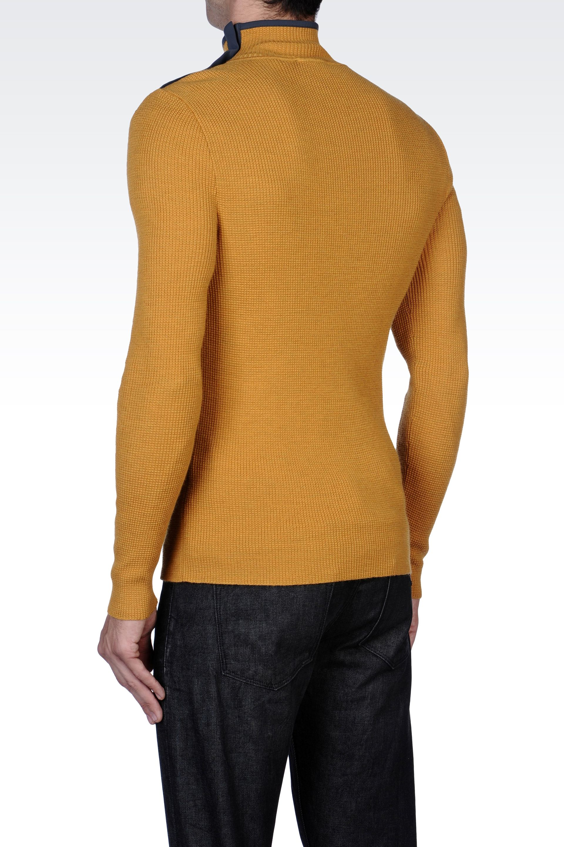 lyst emporio armani wool sweater with zipper detail in yellow for men. Black Bedroom Furniture Sets. Home Design Ideas