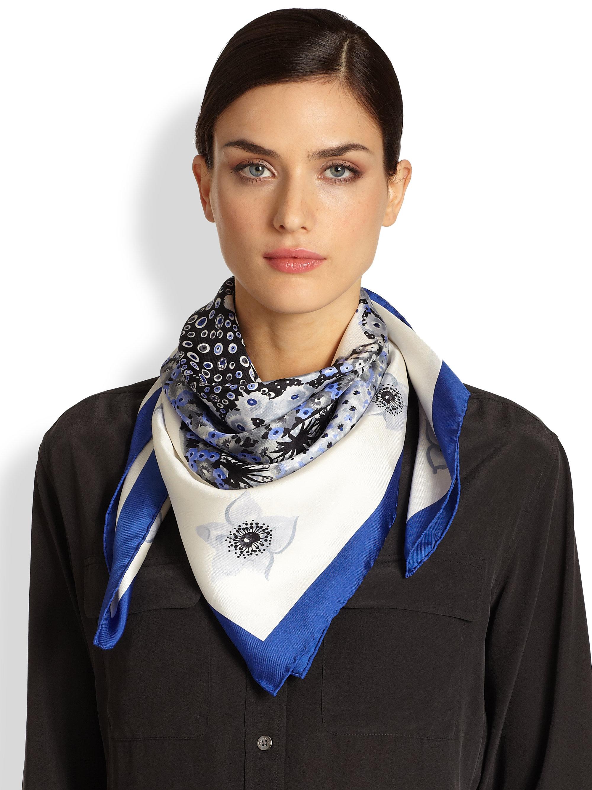 Ferragamo Fiorato Floral-print Silk Foulard Scarf in Black | Lyst
