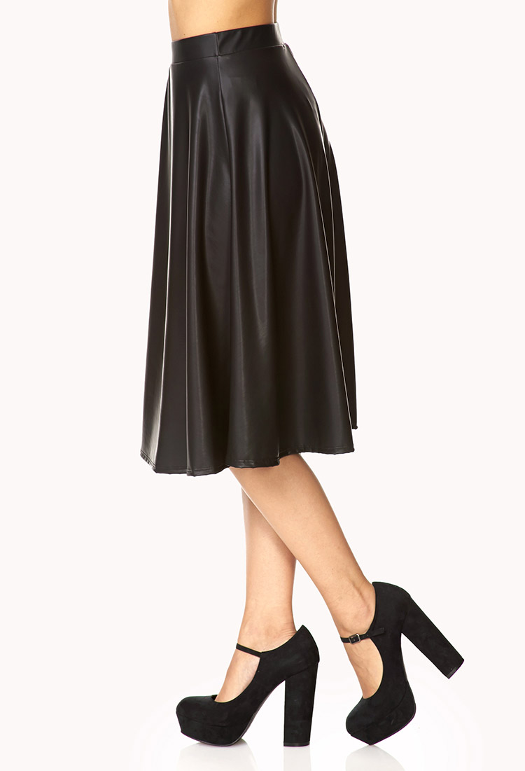 forever 21 chic faux leather midi skirt in black lyst