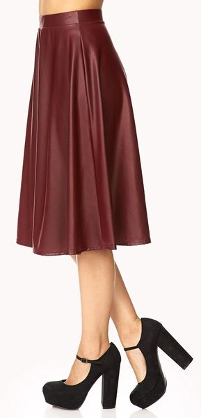 forever 21 streetchic faux leather midi skirt in