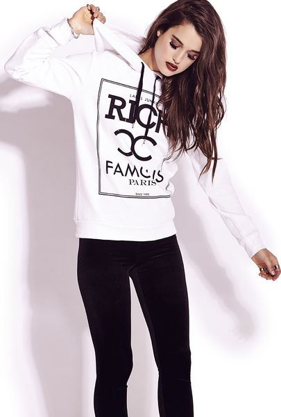 Forever 21 Rich And Famous Hoodie In White (Ivory/black