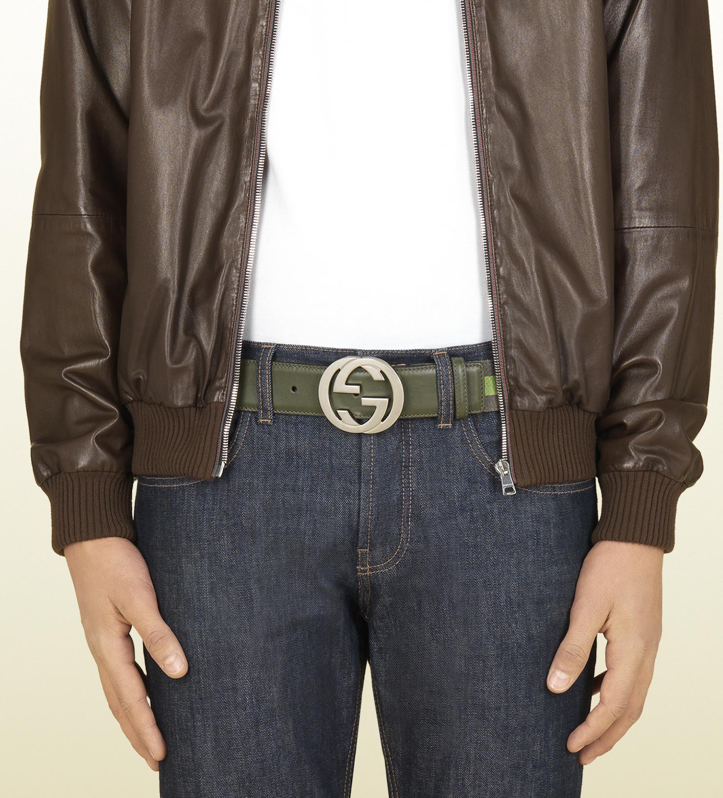 1da730ee59f Gucci Nylon Web Belt with Interlocking G Buckle in Green for Men - Lyst